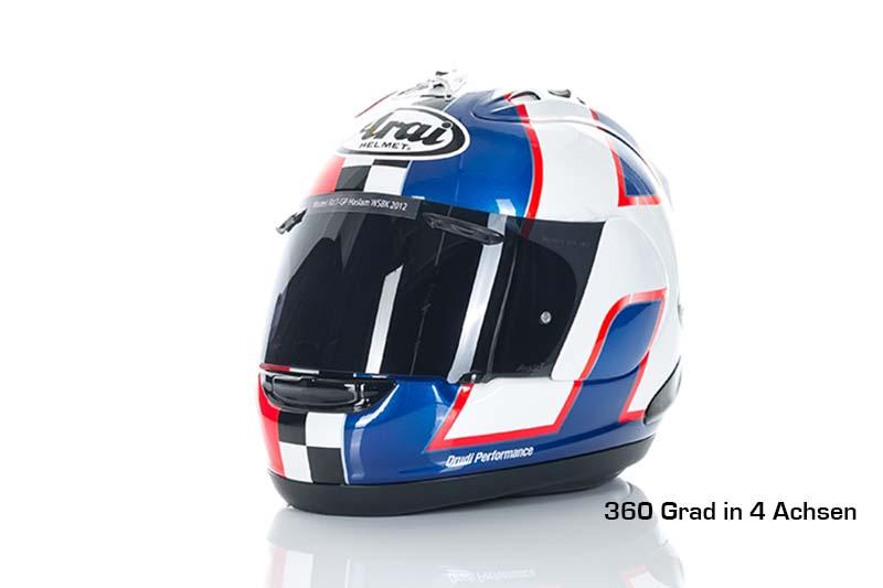 360 grad fotografie von einem motorradhelm